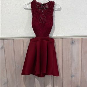 Homecoming Burgundy lace dress